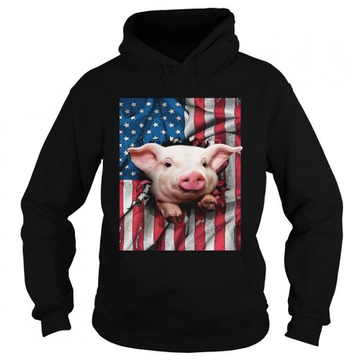 American Flag Pig hoodie