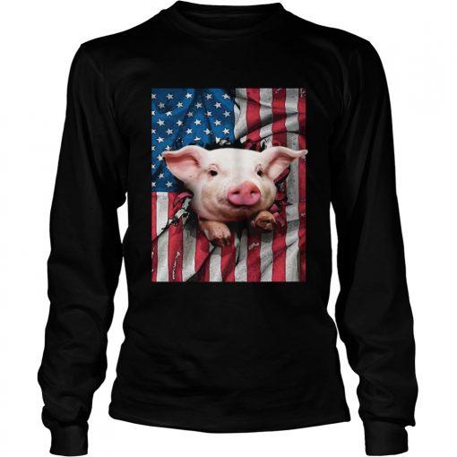 American Flag Pig longsleeve tee