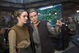 Billie Lourd and Carrie Fisher on the set of Star Wars The Force Awakens