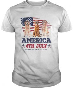 Cool Golden Retriever America 4th July Independence Day T Unisex
