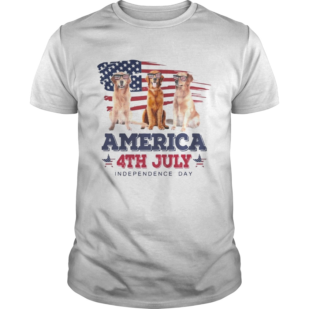 d4cec143 Cool Golden Retriever America 4th July Independence Day Tshirt ...