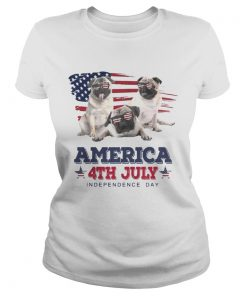 Cool Pug America 4th July Independence Day T Classic Ladies