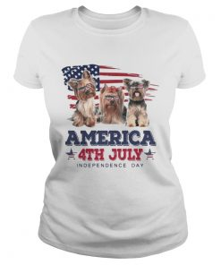 Cool Yorkshire Terrier America 4th July Independence Day T Classic Ladies