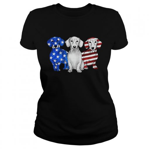 Dachshund American flag ladies tee