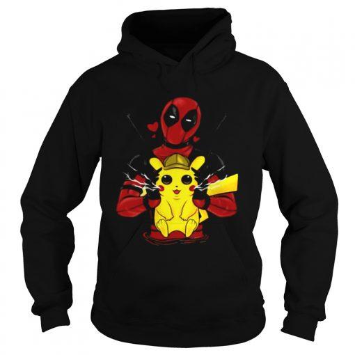 Deadpool hugging detective Pikachu hoodie