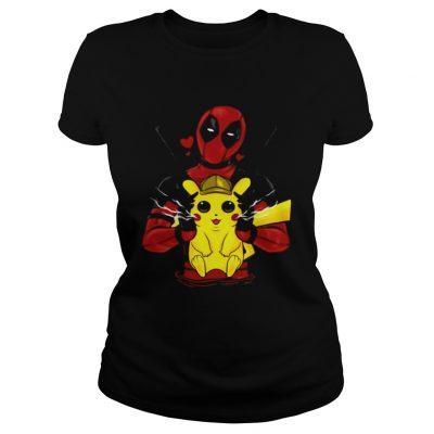 Deadpool hugging detective Pikachu ladies tee