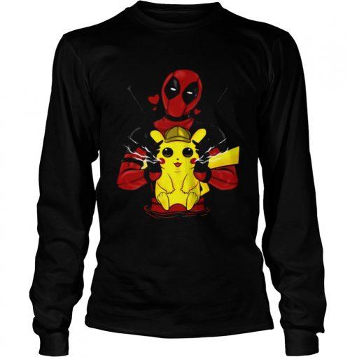 Deadpool hugging detective Pikachu longsleeve tee