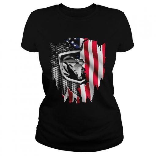 Dodge Ram American flag ladies tee
