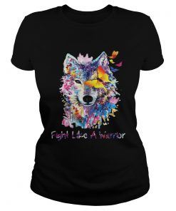Fight Like A Warrior Wolf With Butterfly Watercolor ladies tee