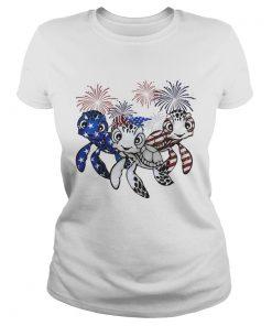 Firework American flag Turtles ladies tee