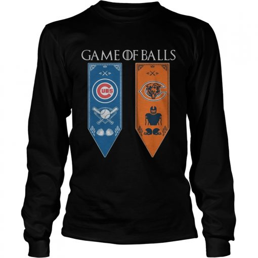Game of Thrones game of balls Chicago Cubs and Chicago Bears longsleeve tee