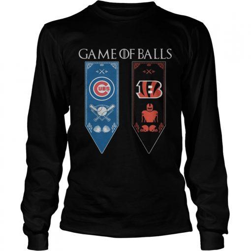 Game of Thrones game of balls Chicago Cubs and Cincinnati Bengals longsleeve tee