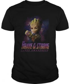 Guys Baby Groot Infinity Gauntlet brave and strong lupus awareness shirt