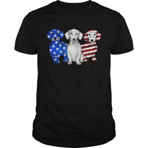 Guys Dachshund American flag shirt