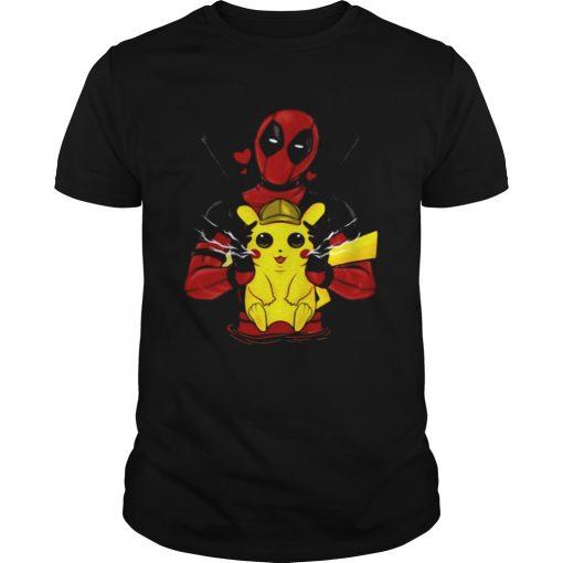 Guys Deadpool hugging detective Pikachu shirt