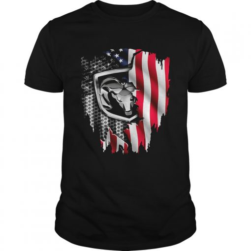 Guys Dodge Ram American flag shirt