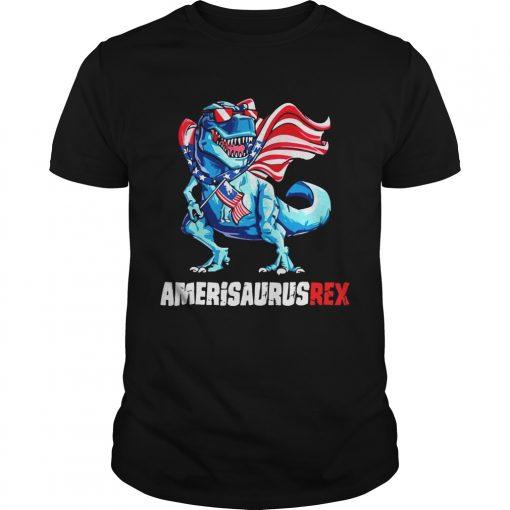Guys Independence Day 4th July Amerisaurus Trex Shirt