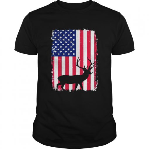 Guys Independence Day Hunting American Flag Shirt