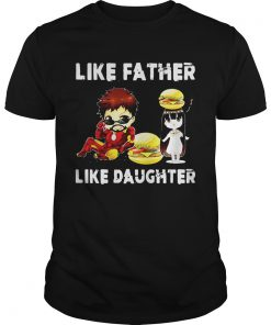 Guys Iron man and daughter hamburger like father like daughter Avengers Endgame shirt