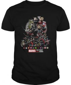 Guys Marvel the first ten years all characters signature Avengers shirt