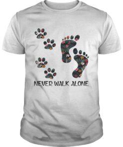 Guys Never Walk Alone Floral Dog Lover Footprint VersionTshirt