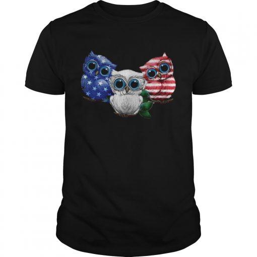 Guys Owl American flag shirt