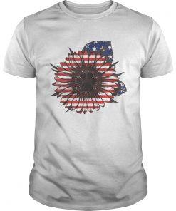 Guys Paw dog sunflower flag America shirt