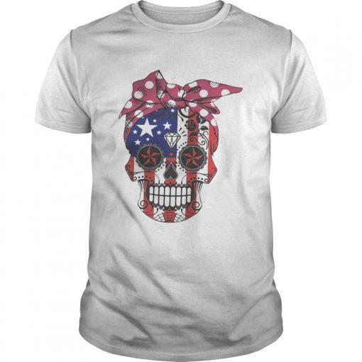 Guys Pink bow Skull Diamond Flag American Shirt