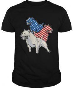 Guys Pit Bull American Flag Tshirt