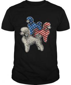 Guys Poodle American Flag Tshirt