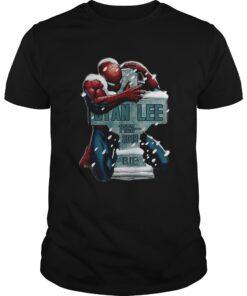 Guys Spiderman hugging RIP Tony Stark shirt