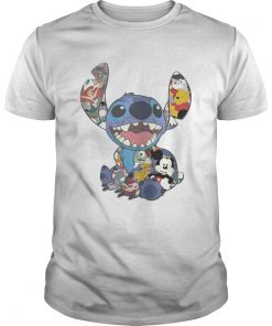 Guys Stitch And Disney Characters Tshirt