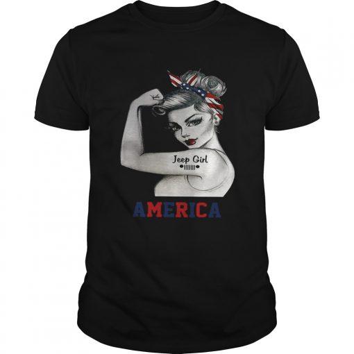 Guys Strong woman Jeep girl America shirt