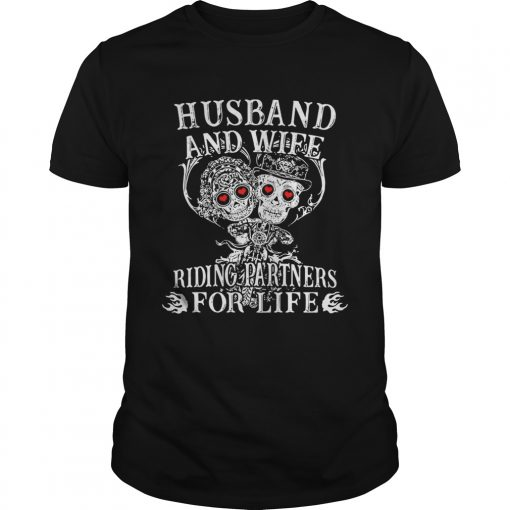Guys Tattoo and skull Husband and wife riding partners for life shirt