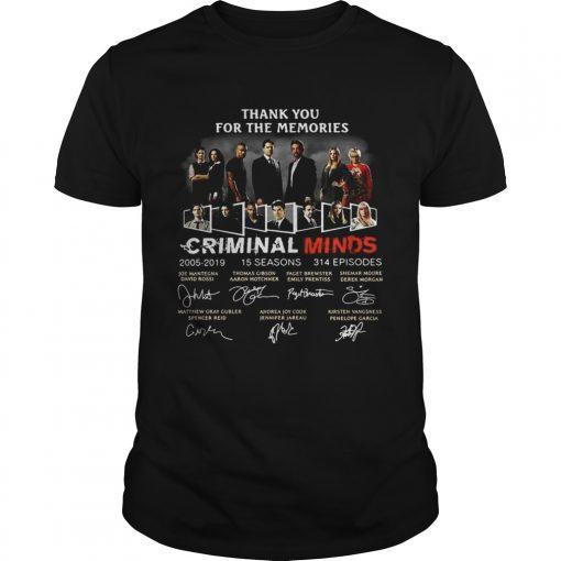 Guys Thank you for the memories Criminal Minds 20052019 signature shirt