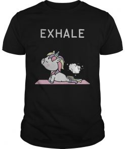 Guys Unicorn yoga exhale shirt