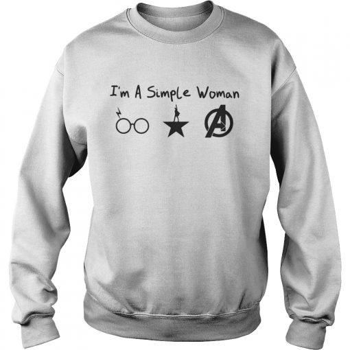 Im A Simple Woman Harry Potter Hamilton Avengers Sweatshirt