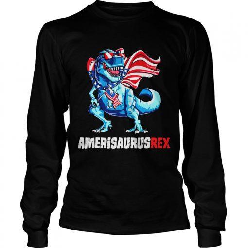 Independence Day 4th July Amerisaurus Trex longsleeve tee