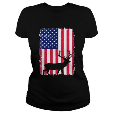 Independence Day Hunting American Flag ladies tee