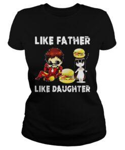 Iron man and daughter hamburger like father like daughter Avengers Endgame ladies tee