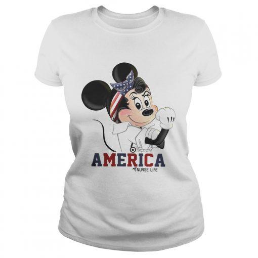 Mickey American nurse life ladies tee
