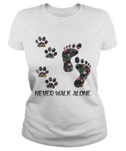 Never Walk Alone Floral Dog Lover Footprint Version ladies tee
