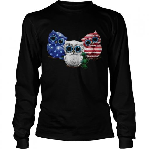 Owl American flag longsleeve tee