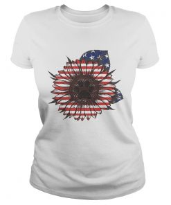 Paw dog sunflower flag America ladies tee