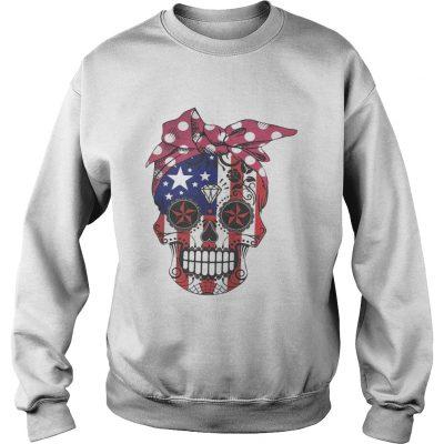 Pink bow Skull Diamond Flag American Sweatshirt