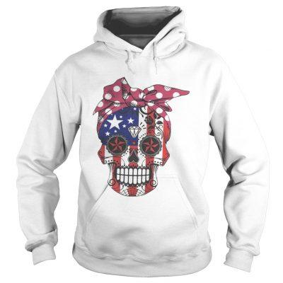 Pink bow Skull Diamond Flag American hoodie