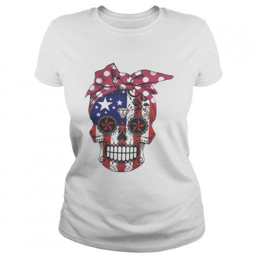 Pink bow Skull Diamond Flag American ladies tee