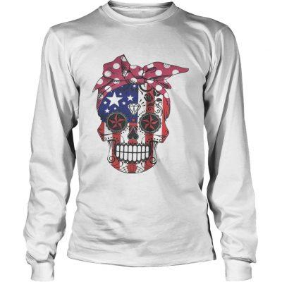 Pink bow Skull Diamond Flag American longsleeve tee