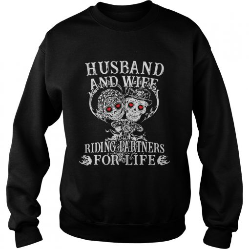 Tattoo and skull Husband and wife riding partners for life sweatshirt