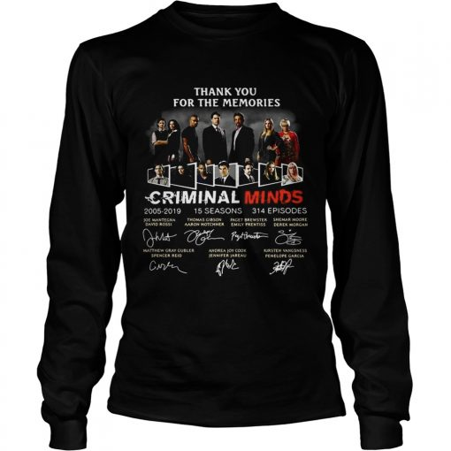 Thank you for the memories Criminal Minds 20052019 signature longsleeve tee